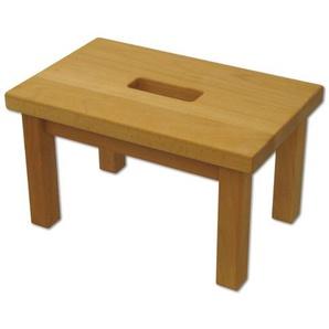 Tritthocker Holz mit Griffloch Schemel Fußbank Fußhocker Buche geölt