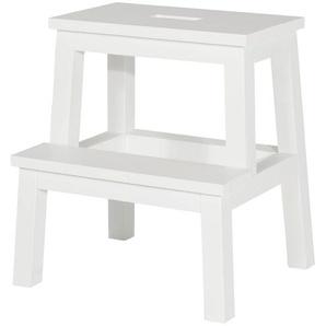 Tritthocker - weiß - 44 cm - 48,5 cm - 38,5 cm | Möbel Kraft