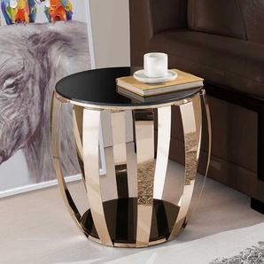 Trommelform Beitisch mit Schwarzglasplatte Metall in Goldfarben