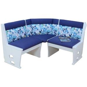 Truhen Eckbank in Blau und Wei� Blumenmuster