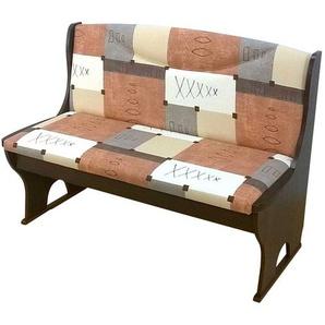 Truhen Sitzbank in Beige Braun gemustert Nussbaumfarben