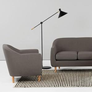 Tubby 2-Sitzer Sofa, Zinngrau
