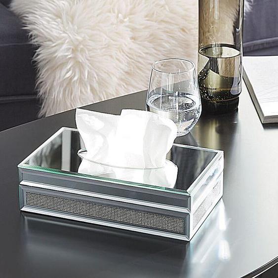 Tücherbox Halter Spiegel-Optik silbern CHARLY