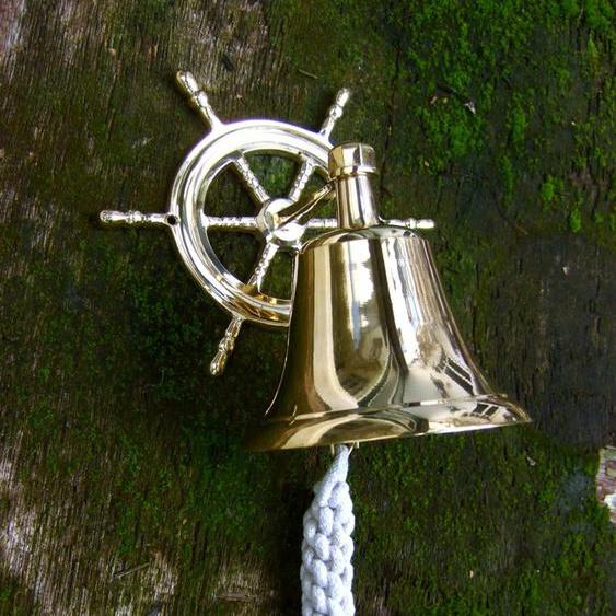 Tür Glocke aus glänzendem Messing - hell klingende Schiffsglocke mit Steuerrad