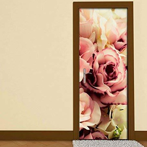 Türaufkleber Blume Blumen Muster Rosen braun weiss Vintage Hintergrund Tür Bild Türposter Türfolie Druck Aufkleber sticker 15A2692, Türgrösse:67cmx200cm