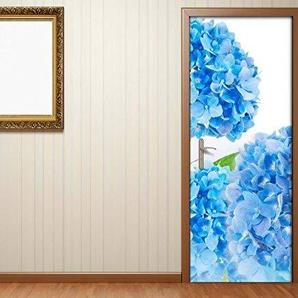 Türaufkleber Blume Hortensie blau Blumen Garten Blätter Tür Bild Türposter Türfolie Türtapete Poster Aufkleber 15121, Türgrösse:67cmx200cm