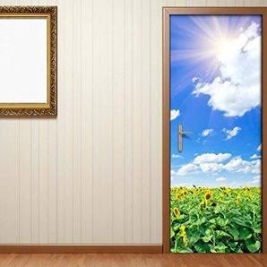 Türaufkleber Blumen Sommer Feld Sonnenblume Tür Bild Türposter Türfolie Türtapete Poster Aufkleber 15A140, Türgrösse:67cmx200cm