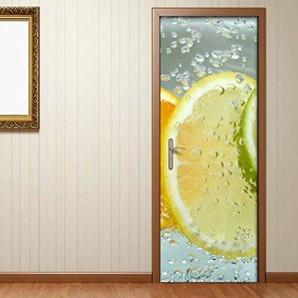 Türaufkleber Citrusfrüchte Wasser Orange Zitrone Tür Bild Türposter Türfolie Türtapete Poster Aufkleber 15A182, Türgrösse:67cmx200cm