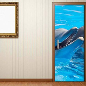 Türaufkleber Delfin Delfine Tier Wasser Meer Tür Bild Türposter Türfolie Druck Aufkleber 15A2331, Türgrösse:67cmx200cm