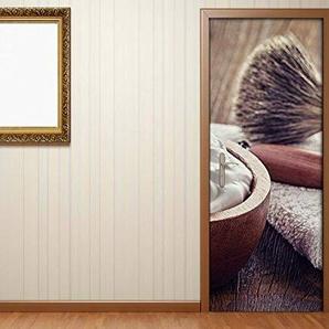 Türaufkleber Friseur Salon Gesicht Bürste Schaum Vintage Holz Tür Bild Türposter Türfolie Druck Aufkleber sticker 15A2743, Türgrösse:67cmx200cm