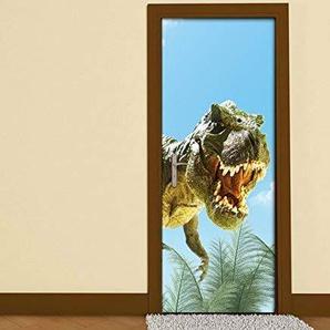 Türaufkleber Kinderzimmer cartoon T-Rex Dino böse Dschungel Drache Tür Folie Bild Türposter Türfolie Türtapete Türbild selbstklebend bunt Druck Aufkleber sticker 15B178, Türgrösse:67cmx200cm