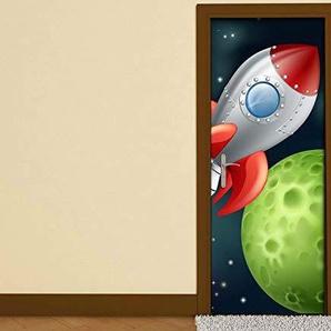 Türaufkleber Kinderzimmer Cartoon Weltraum Weltall Rakete Planet Kosmos Tür Folie Bild Türposter Türfolie Türtapete Türbild selbstklebend bunt Druck Aufkleber sticker 15B186, Türgrösse:90cmx200cm