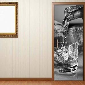 Türaufkleber Whisky Alkohol Glas Flasche Fest schwarz weiß Tür Bild Türposter Türfolie Türtapete Poster Aufkleber 15A1933, Türgrösse:67cmx200cm
