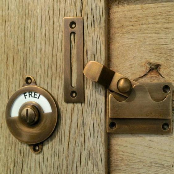 Türbeschlag für Toilettentür aus Messing -WC Drehverschluss- Toilettenverschluss