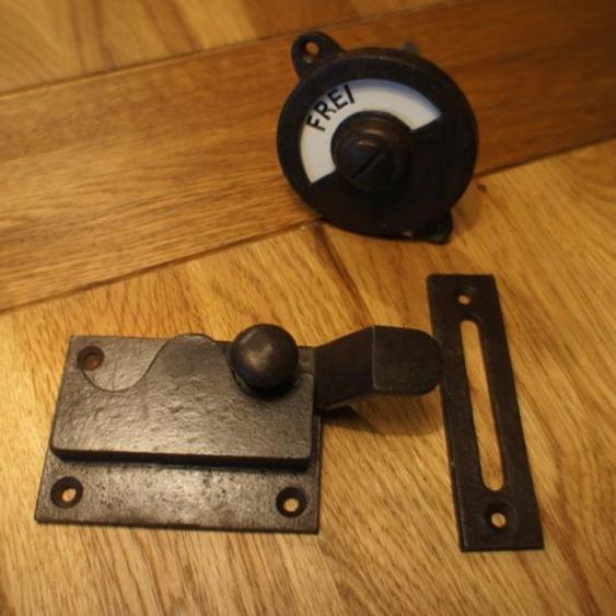 Türbeschlag für Toilettentür WC-Drehverschluss, besetzt+frei Emaille Antik-Eisen