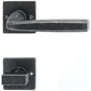 Halcö Türbeschlag Hall | Türgriff für Innentür auf Rosette WC | schwarz passiviert