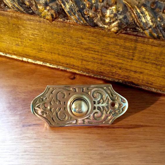 Türklingel fein gearbeitet nach historischem Original, Schelle Messing Klingel