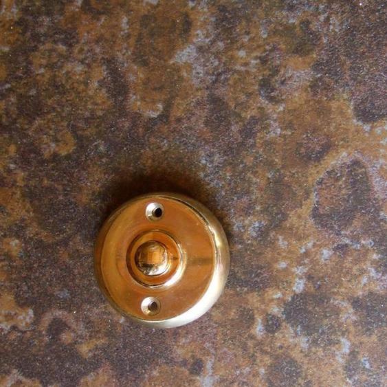Türklingel Messing rund, Klingelknopf, schöne schlichte Haustür Klingel zu antik