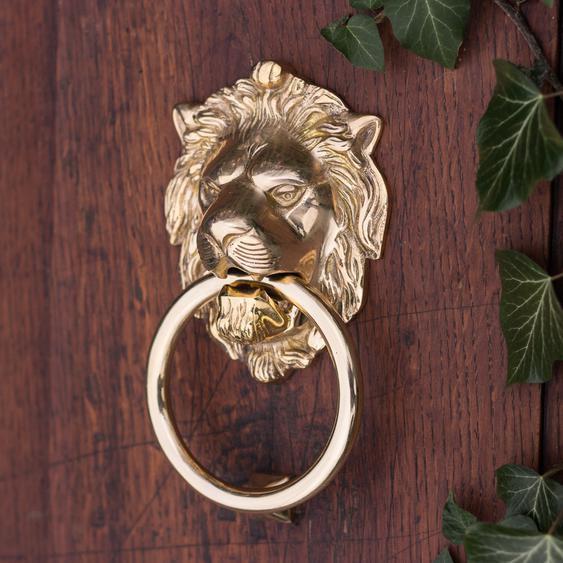 Türklopfer als Löwe für Haustüren, Löwenkopf für Eingangstür, poliertes Messing