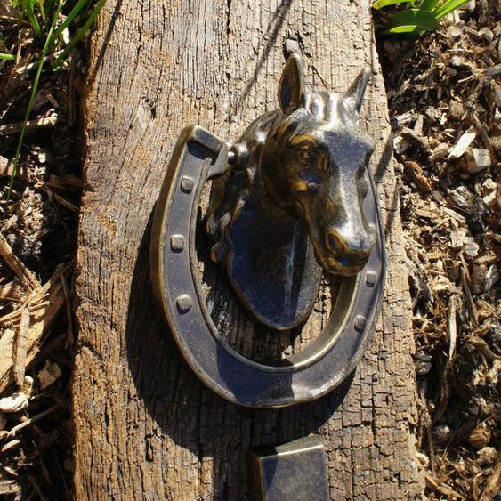 Türklopfer Pferd Klopfer mit Pferdekopf hochwertige Dekoration Haustür Messing