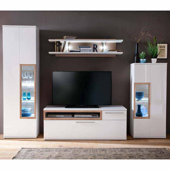 TV Anbauwand in Weiß Eiche LED Beleuchtung (4-teilig)