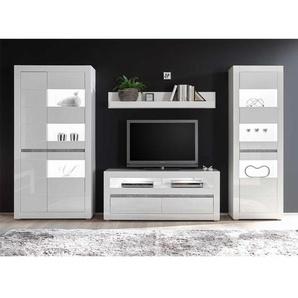 TV Anbauwand in Weiß Hochglanz und Beton Grau modern (4-teilig)