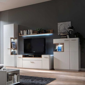 TV Anbauwand in Wei� und Asteiche furniert modern (4-teilig)