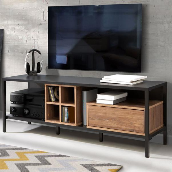 TV-Board, 150x48.7x42 cm (BxHxT), FSC®-zertifiziert, FORTE, Material Eiche, Holzwerkstoff, Metall, Kunststoff