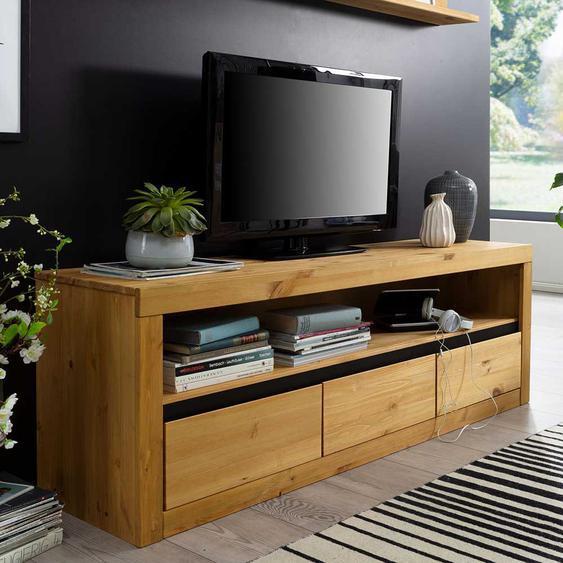 TV Board aus Kiefer Massivholz 160 cm breit