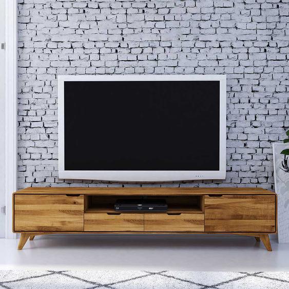TV Board aus Wildeiche Massivholz 220 cm breit