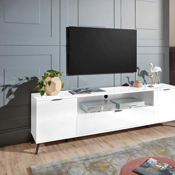 TV-Board »CASANOVA«, 220x60x40 cm (BxHxT), FSC®-zertifiziert, KITALY, weiß, Material Holzwerkstoff, Kunststoff, Metall, Hochglanz