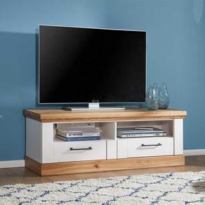 TV Board in Wei� und Eiche massiv Landhaus Design