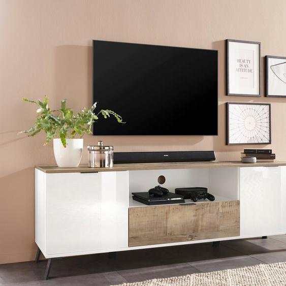 TV-Board »CASANOVA«, 180x60x40 cm (BxHxT), FSC®-zertifiziert, KITALY, weiß, Material Holzwerkstoff, Kunststoff, Metall, Hochglanz