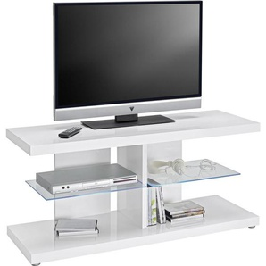 : TV-Element, Glas, Weiß, B/H/T 120 52 40