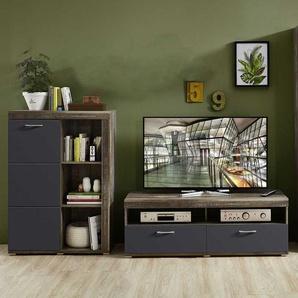 TV Kombination in Treibholz Optik dunkel Grau (2-teilig)