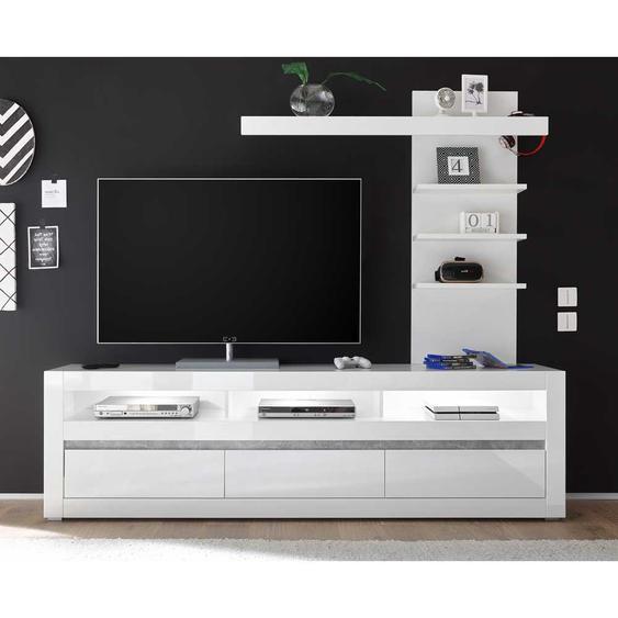 TV Lowboard und Regal in Weiß Hochglanz und Beton Grau LED Beleuchtung (2-teilig)