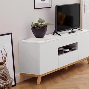TV-Lowboard - weiß - Holz -
