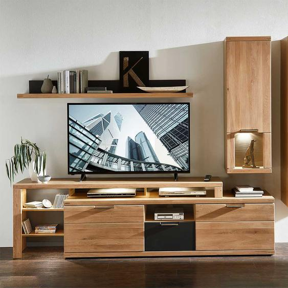 TV Möbel in Eiche Bianco und Anthrazit LED Beleuchtung