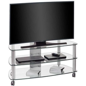 TV Rack aus Glas Rollen