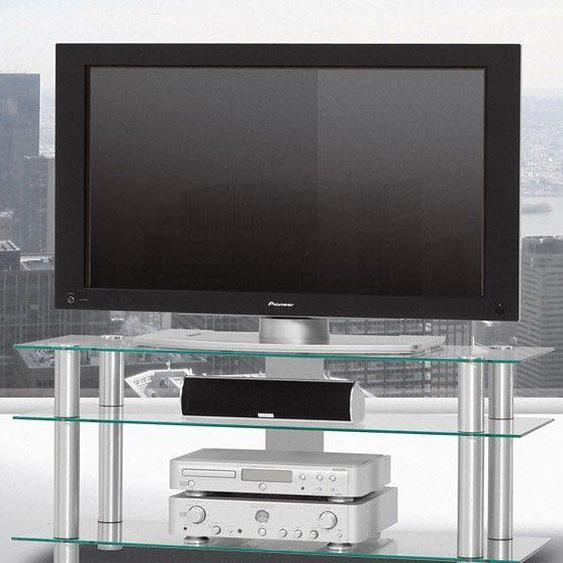 TV-Rack »just-racks TV1203«, 120x53.2x40 cm (BxHxT), SPECTRAL, silber, Material Klarglas