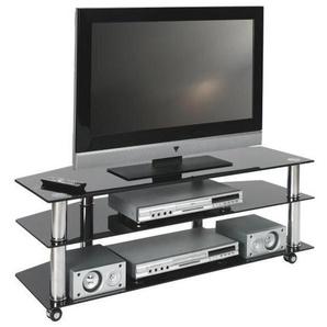 : TV-Rack, Chrom, Schwarz, B/H/T 110 40 45