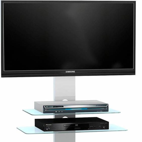 TV-Rack »1641«, 90x95x40 cm (BxHxT), MAJA Möbel, weiß, Material ESG-Sicherheitsglas, Aluminium, Klarglas, Metallgestell