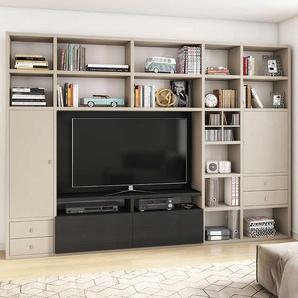 TV Regal in Beige und Eiche Schwarz Braun 310 cm breit