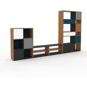 TV-Schrank Eiche - Fernsehschrank: Schubladen in Weiß & Türen in Anthrazit - 342 x 195 x 35 cm, konfigurierbar