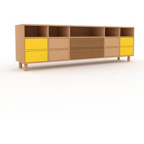 TV-Schrank Buche - Moderner Fernsehschrank: Schubladen in Buche - 231 x 72 x 47 cm, konfigurierbar