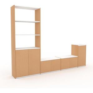 TV-Schrank Buche - Moderner Fernsehschrank: Türen in Buche - 265 x 195 x 35 cm, konfigurierbar