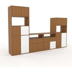 TV-Schrank Eiche - Fernsehschrank: Schubladen in Eiche & Türen in Eiche - 301 x 195 x 47 cm, konfigurierbar