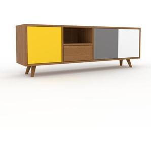 TV-Schrank Eiche - Fernsehschrank: Schubladen in Eiche & Türen in Gelb - 154 x 53 x 35 cm, konfigurierbar