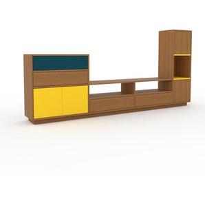 TV-Schrank Eiche - Fernsehschrank: Schubladen in Eiche & Türen in Gelb - 265 x 124 x 35 cm, konfigurierbar