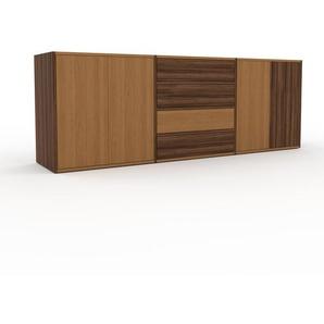 TV-Schrank Nussbaum - Fernsehschrank: Schubladen in Nussbaum & Türen in Eiche - 226 x 80 x 47 cm, konfigurierbar